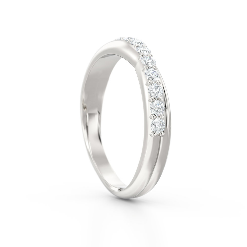 Cross over brilliant cut eternity ring