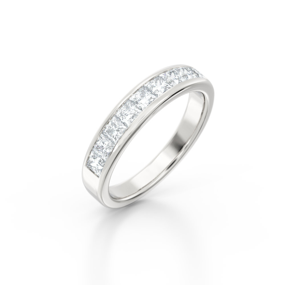 Channel set princess cut eternity ring