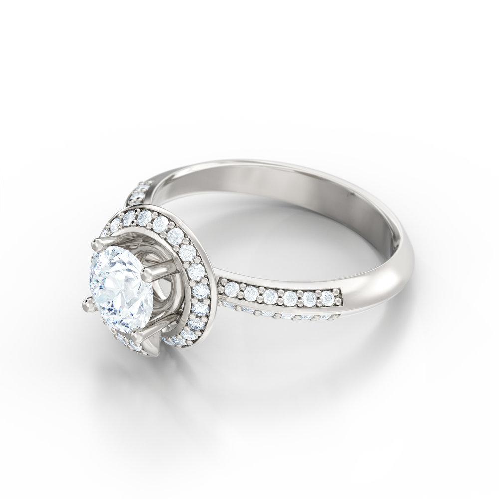 Spiral Halo Engagement Ring | Hatton Garden, London