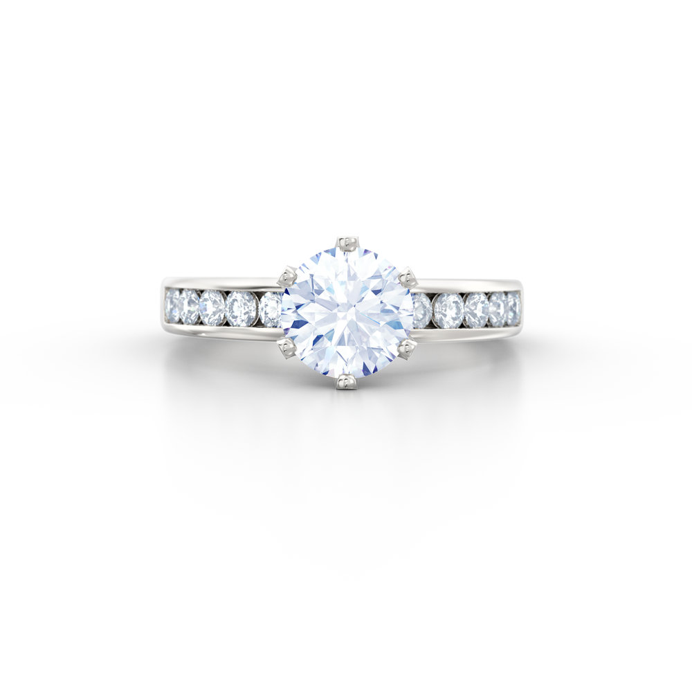 Brilliant cut channel set diamond shoulder engagement ring