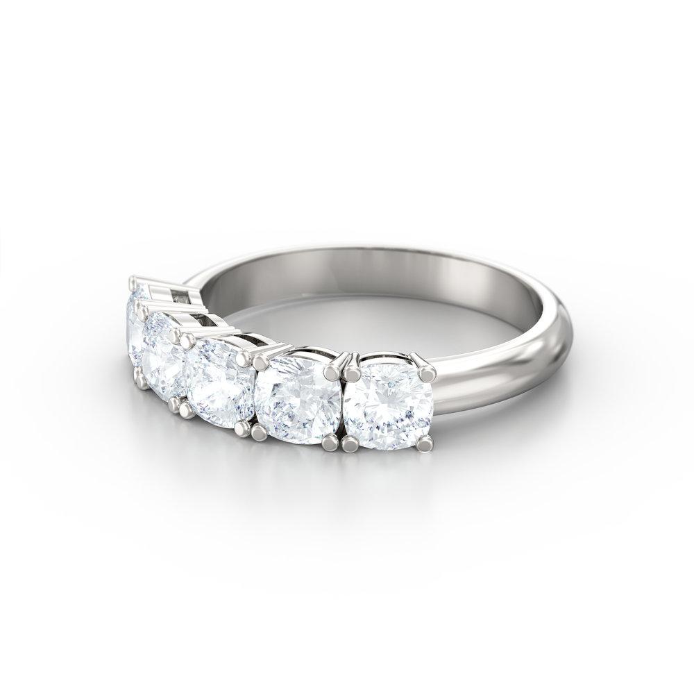 Cushion Cut Five Stone Engagement Ring | Hatton Garden