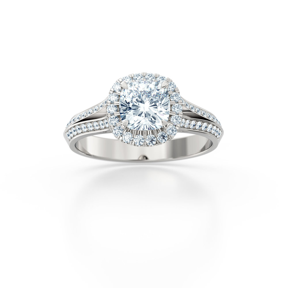 Cushion cut diamond double shank halo engagement ring