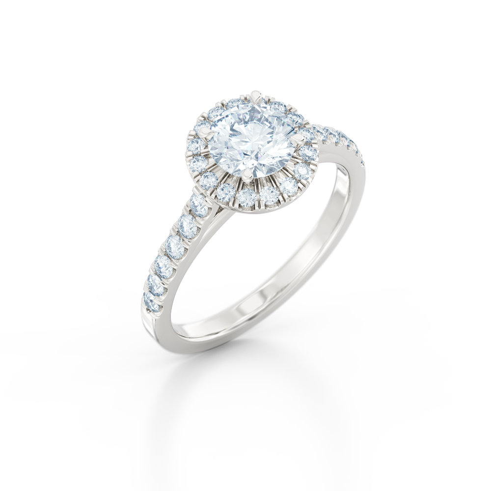 Brilliant cut diamond halo engagement ring
