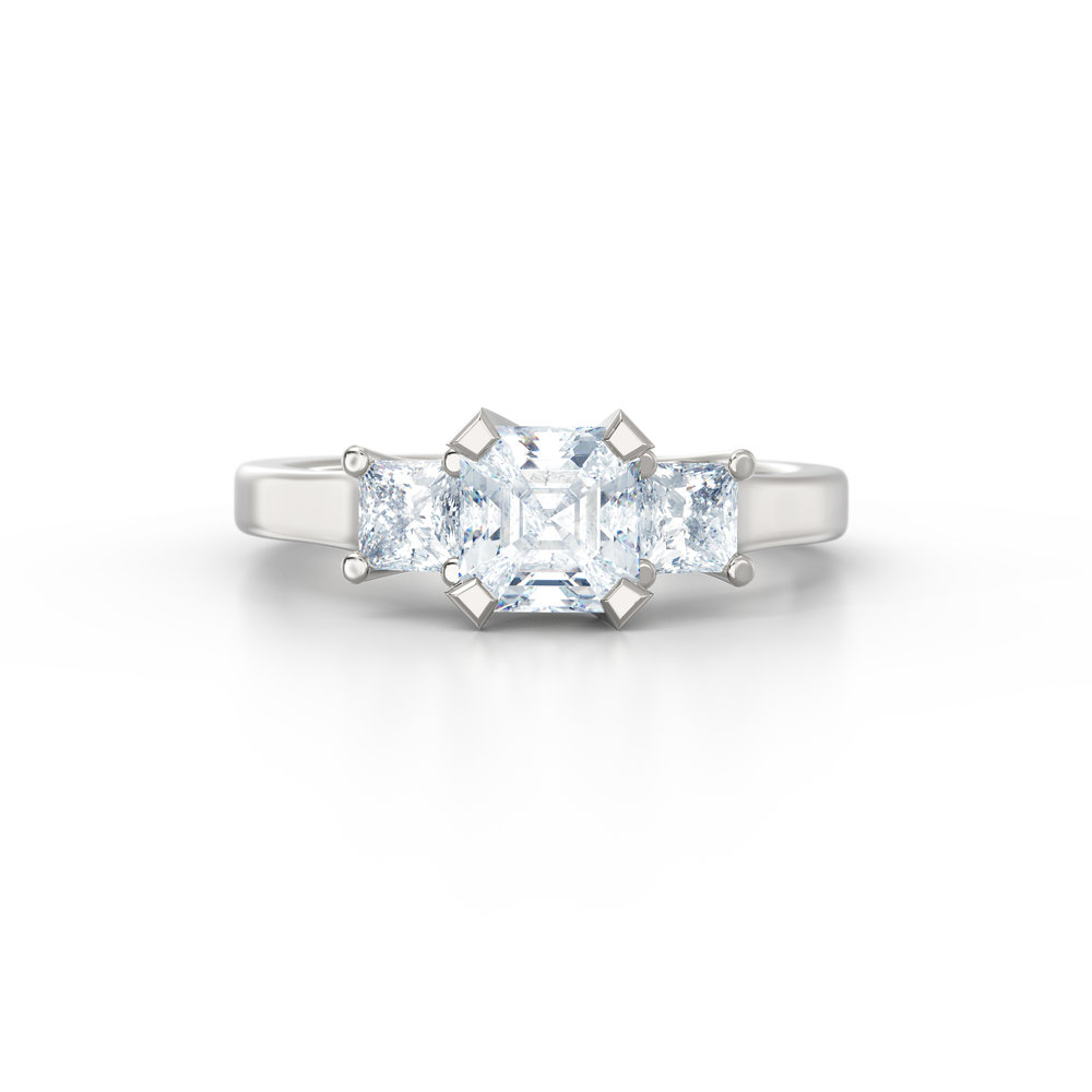 Asscher Cut Trilogy Engagement Rings | Hatton Garden Jewellers