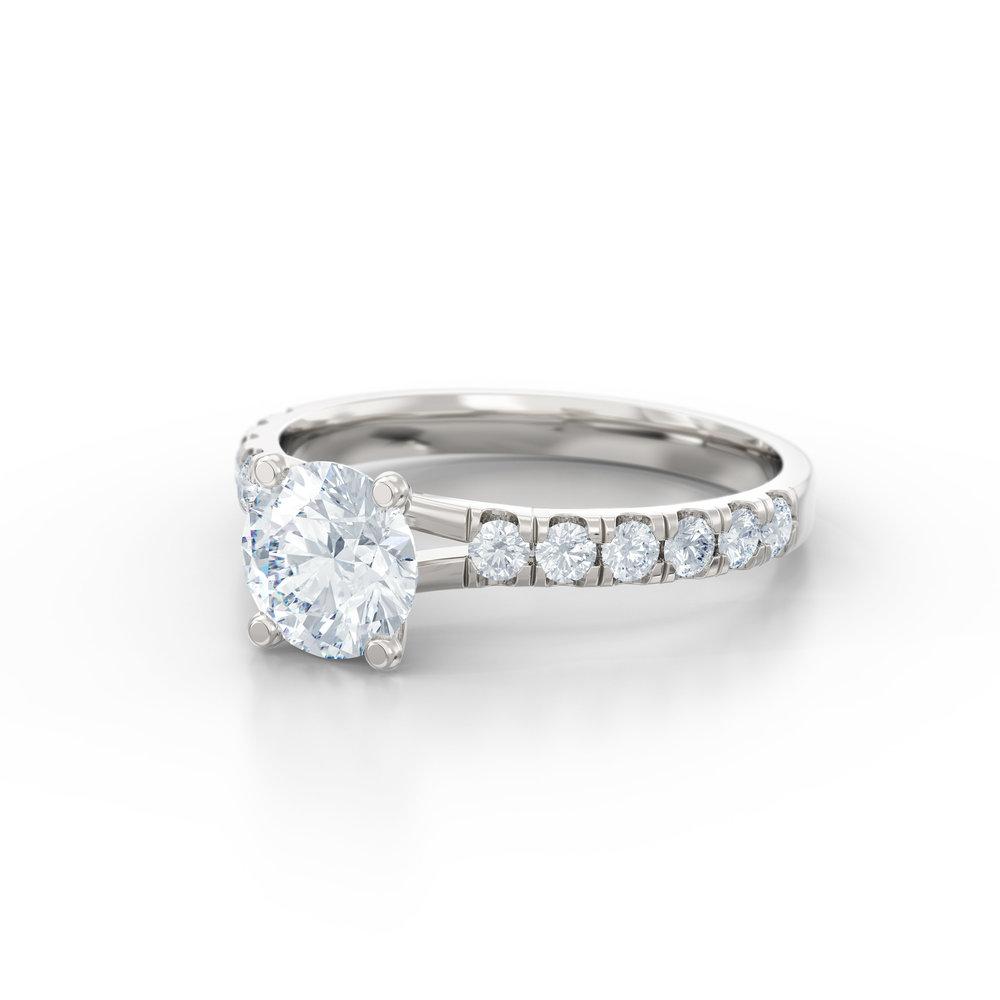 Split claw diamond shoulder engagement ring