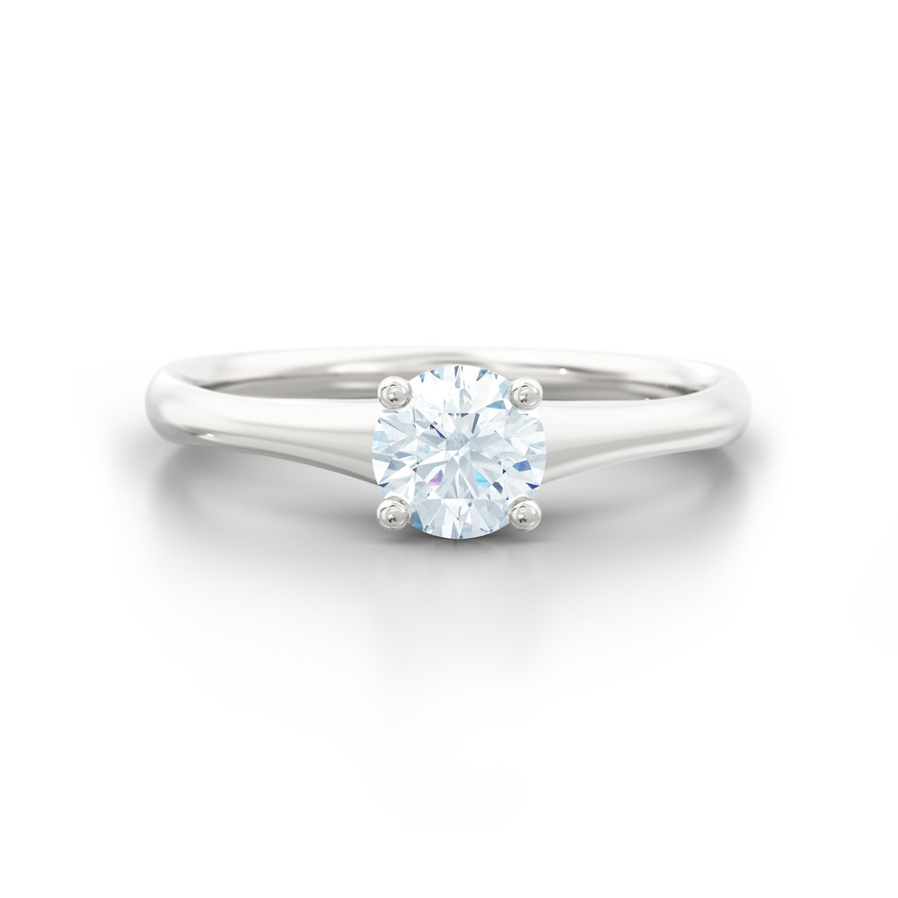 Tapered Platinum Solitaire Engagement Ring | Hatton Garden