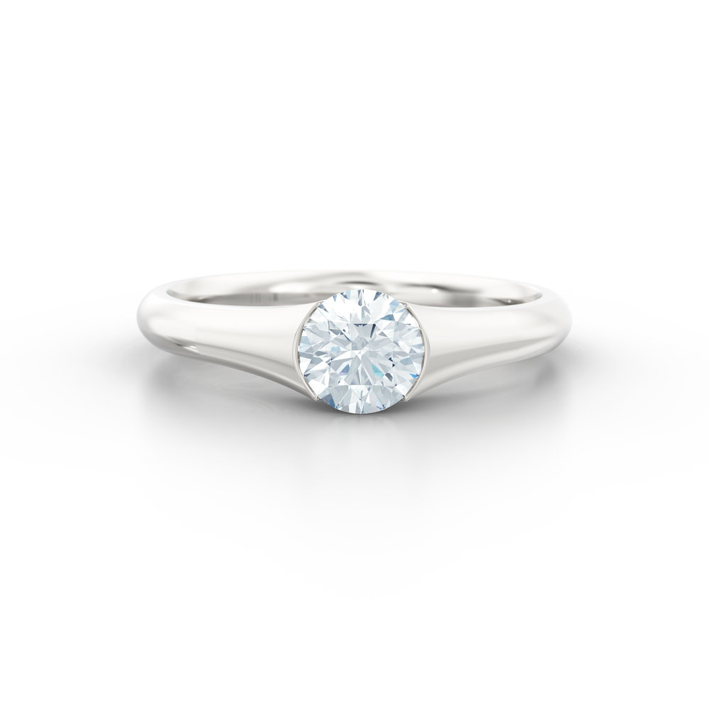 Tapered Half Rub Over Platinum Solitaire Engagement Ring | Hatton Garden
