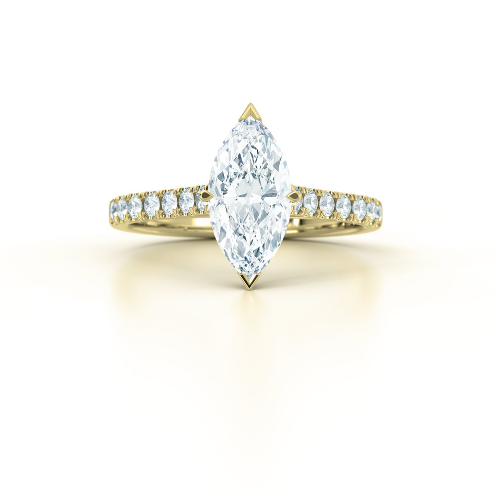 Marquise diamond shoulder engagement ring