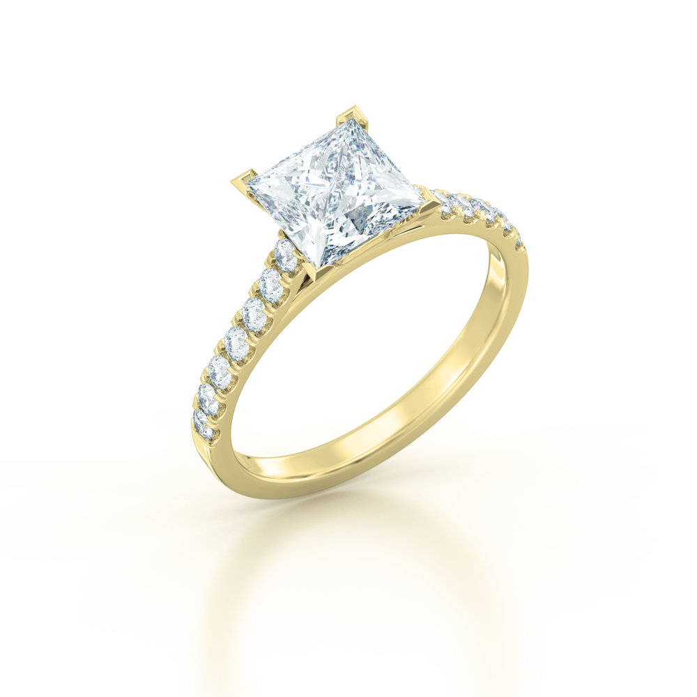 Princess cut diamond shoulder engagement ring
