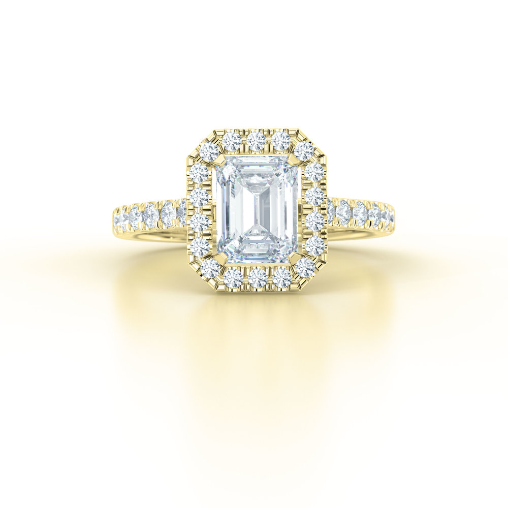 Emerald Cut Diamond Halo Engagement Ring | Hatton Garden