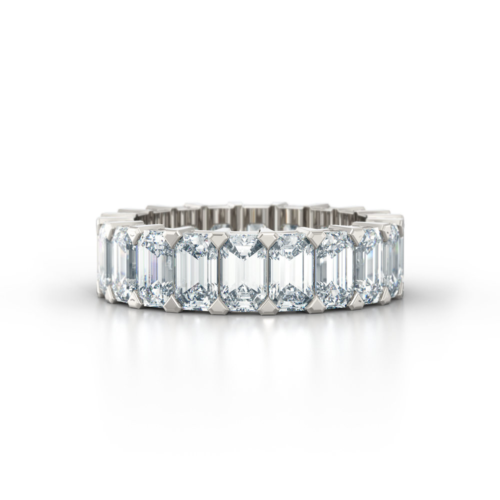 Emerald Cut Shared Claw Eternity Ring | Hatton Garden