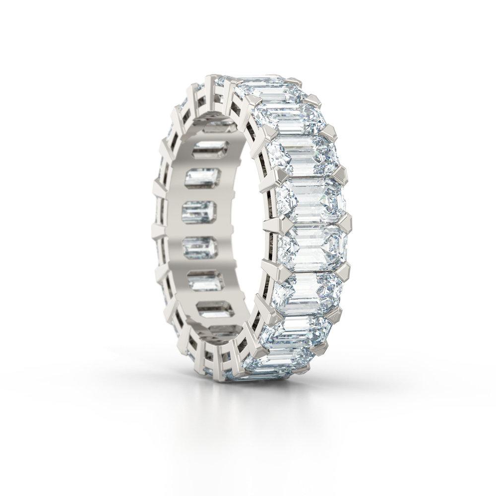 Emerald Cut Shared Claw Eternity Ring | Hatton Garden