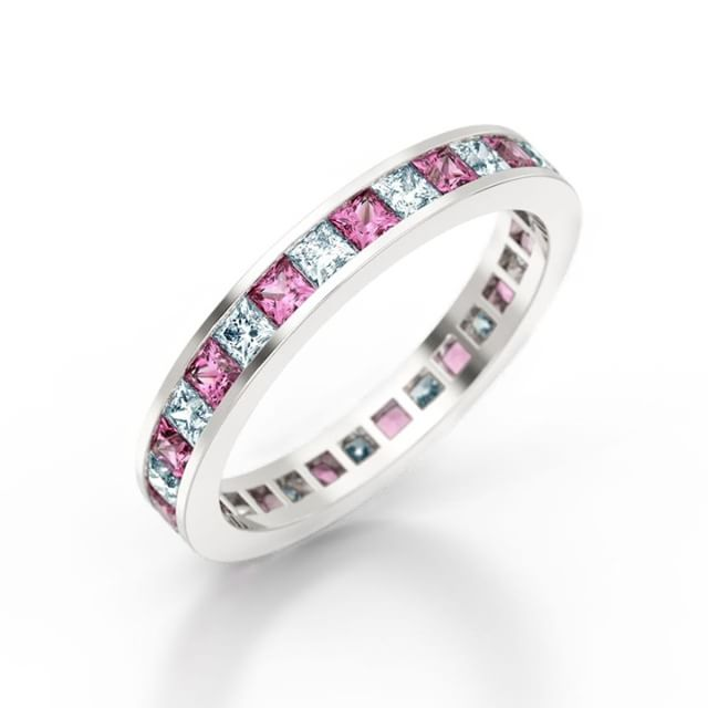 A stunning Pink Sapphire and Princess Cut Diamond Channel Set Eternity Ring From £995.00 - At Love Fine Diamonds we offer an in house complimentary engraving service on all engagement and wedding rings to your specification. Find out more at http://www.lovefinediamonds.co.uk  #jewellers #hattongarden #london #wedding #weddinginspiration #weddingrings #engagementrings #weddingbands #photooftheday #love #eternityring #eternityring