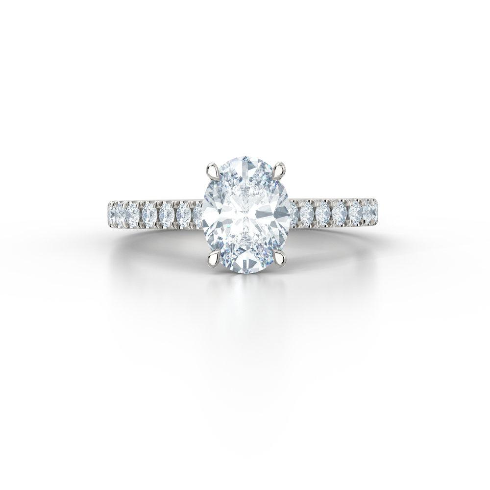 Oval Diamonds Shoulder Engagement Ring | Hatton Garden