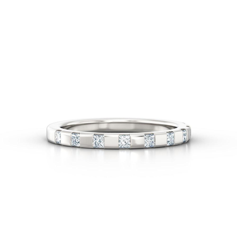 Off-set Princess Cut Eternity Ring | Hatton Garden