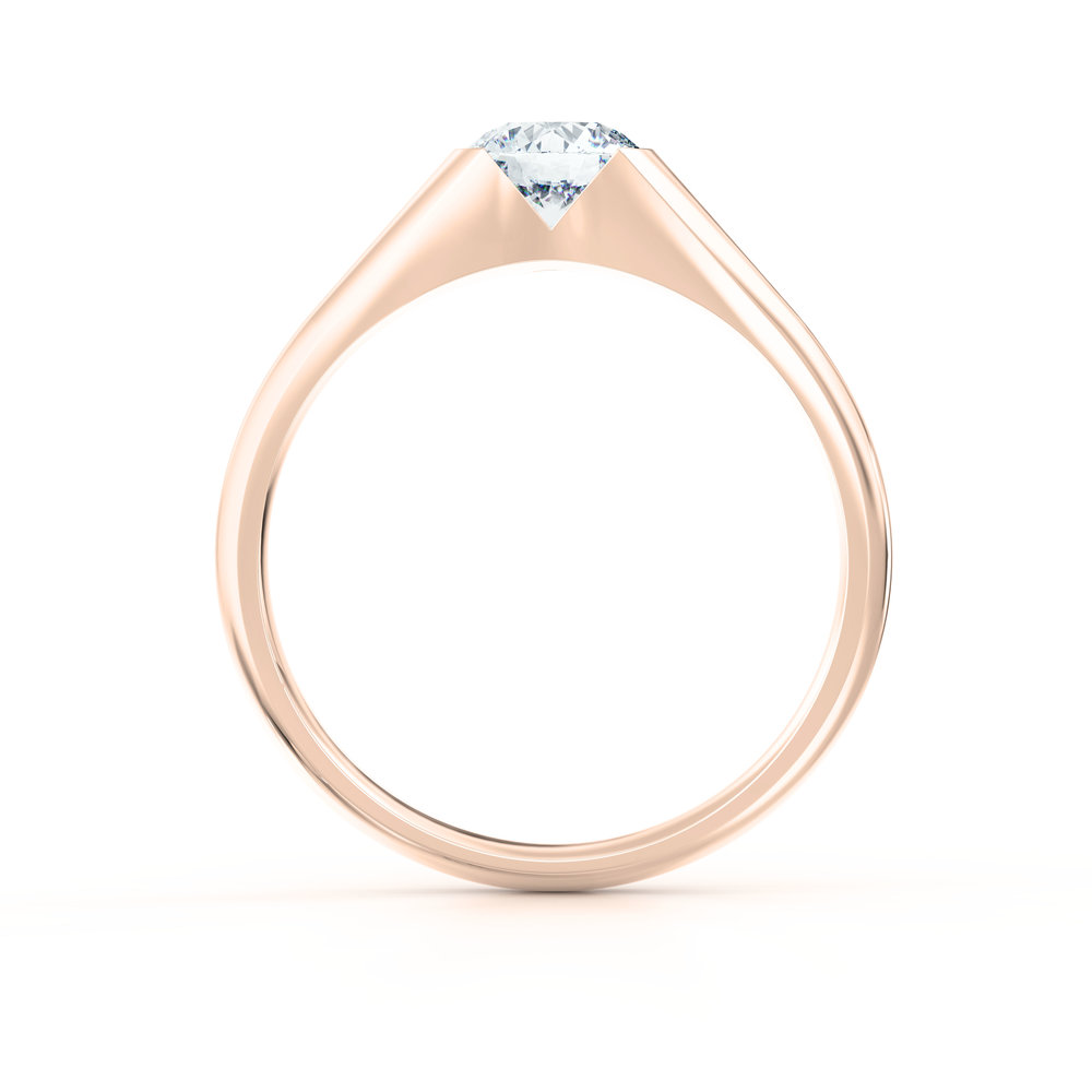 Tapered Rose Gold Solitaire Engagement Ring | Hatton Garden