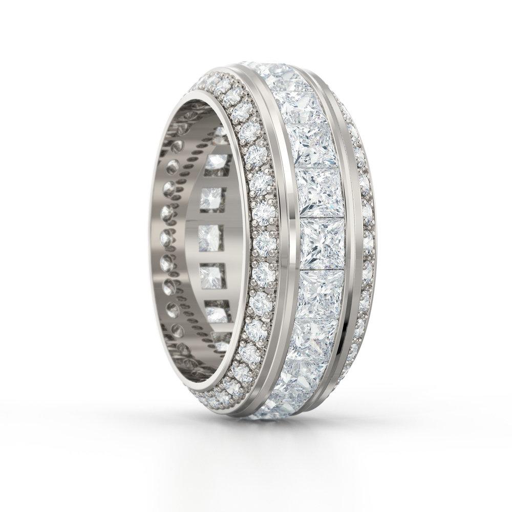 Triple Row Brilliant & Princess Cut Eternity Ring   Hatton Garden