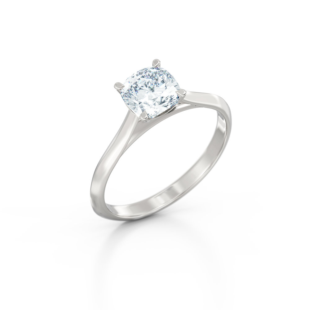 Cushion Cut Solitaire Engagement Ring | Hatton Garden