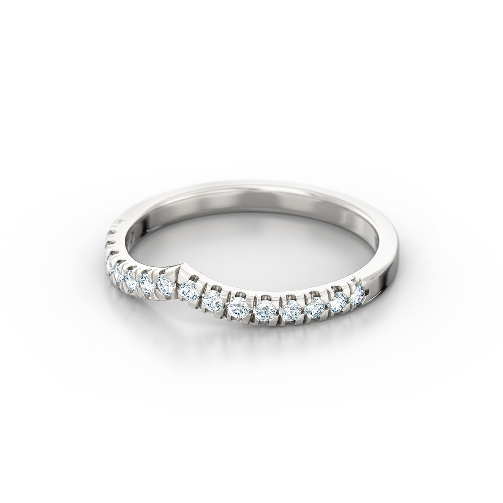 Diamond wish bone wedding band | Hatton Garden