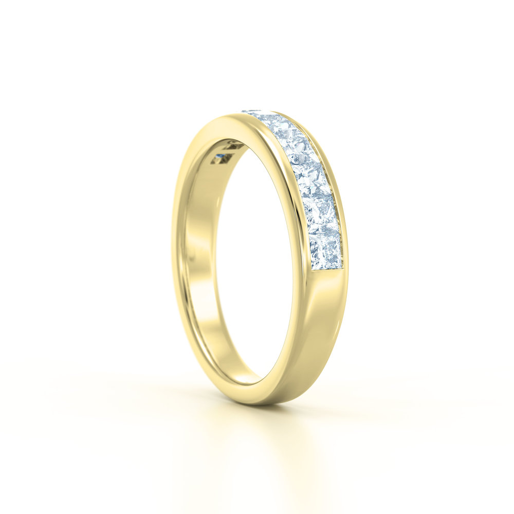 Channel set princess cut eternity ring | Hatton Garden