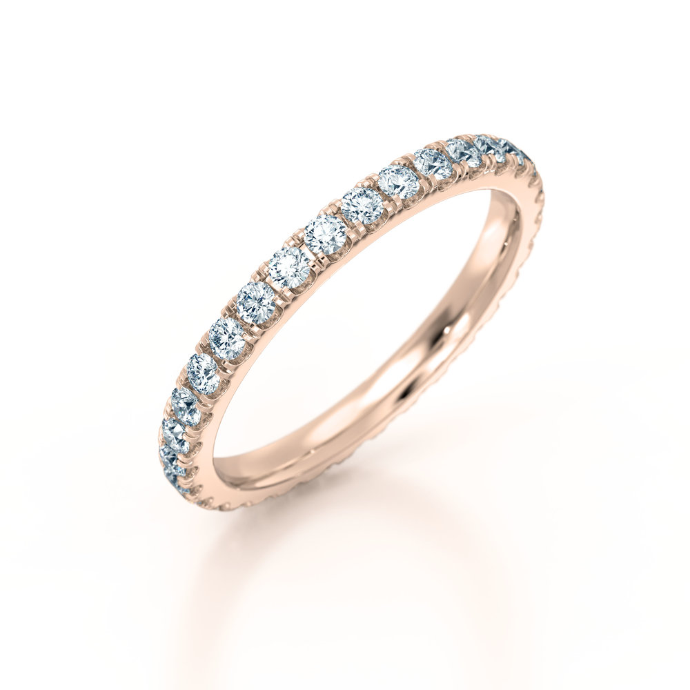 Rose Gold Micro Set Eternity Ring | Hatton Garden