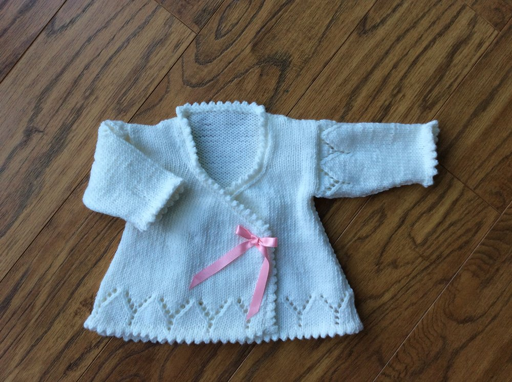 9da82f158 Merino matinee coat in white - hand knitted luxury baby clothing