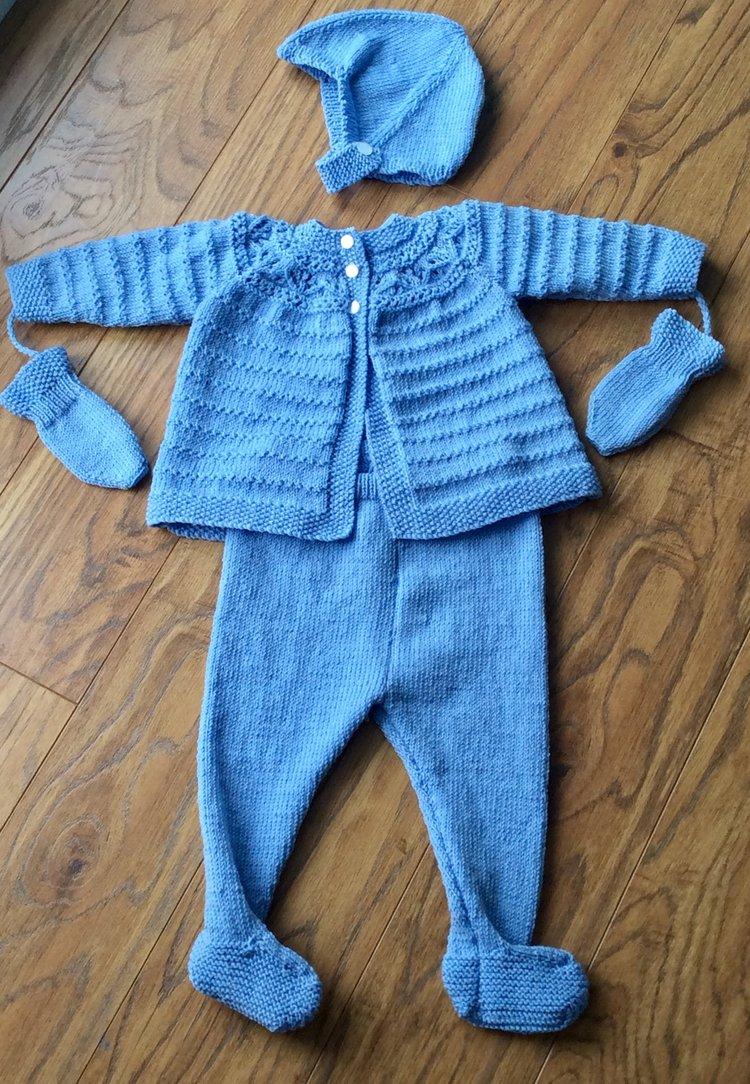 b5e341065f45 Pram suit hand knitted in Merino wool - hand knitted luxury baby ...
