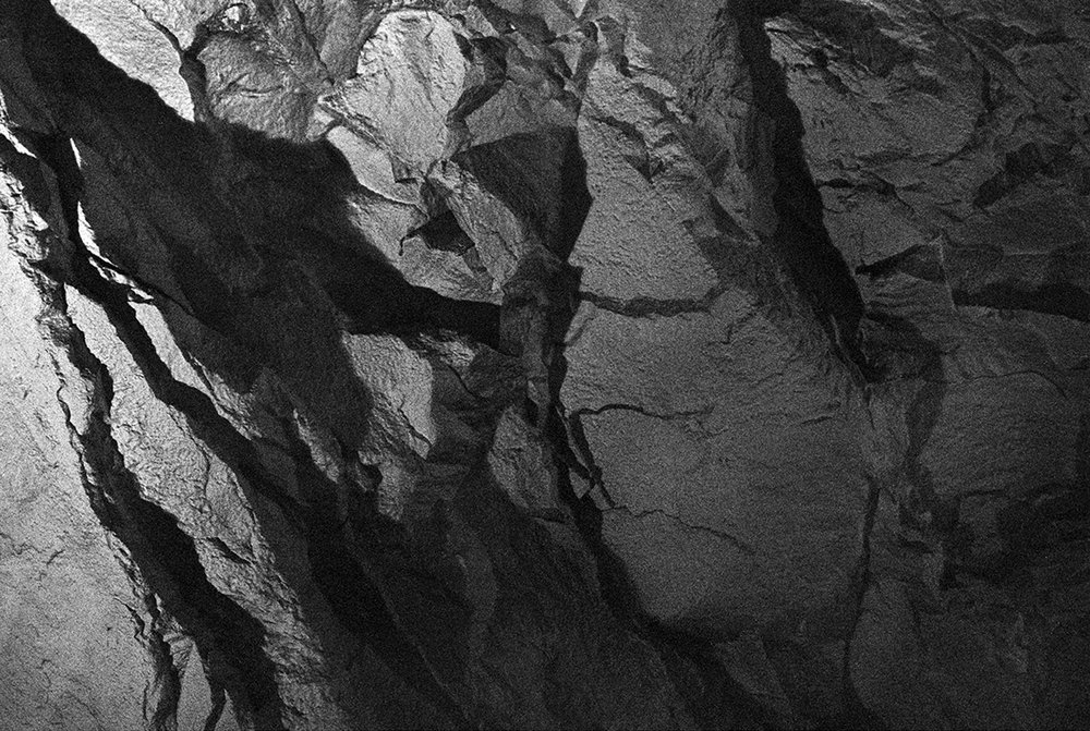 Source image no. two: photo of the under ground bedrock of Bergen.   Analogue 4x5, b/w photograph.