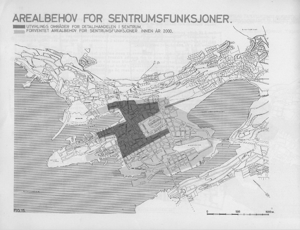 Areal map showing possible needs for the expansion, city of Bergen in the future. From city development departments, 1970, Bergen Kommune.