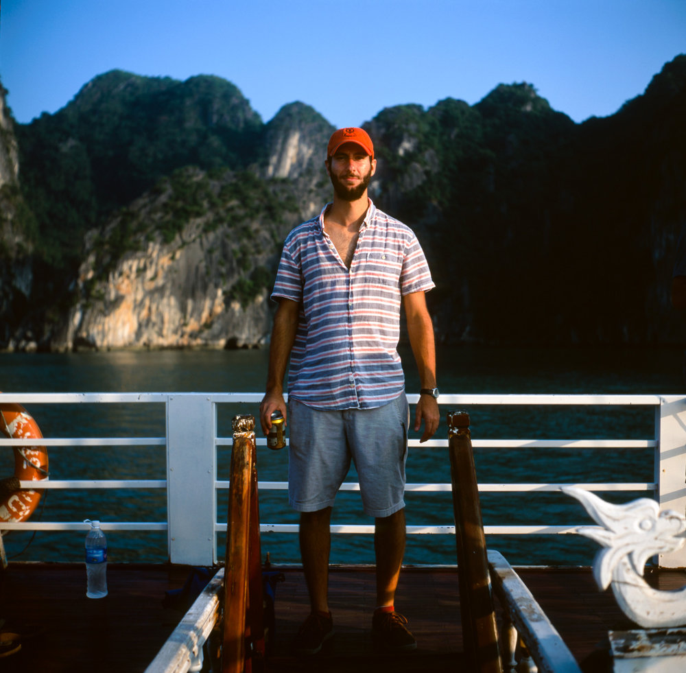 Drew on a tourist boat in Ha Long Bay.