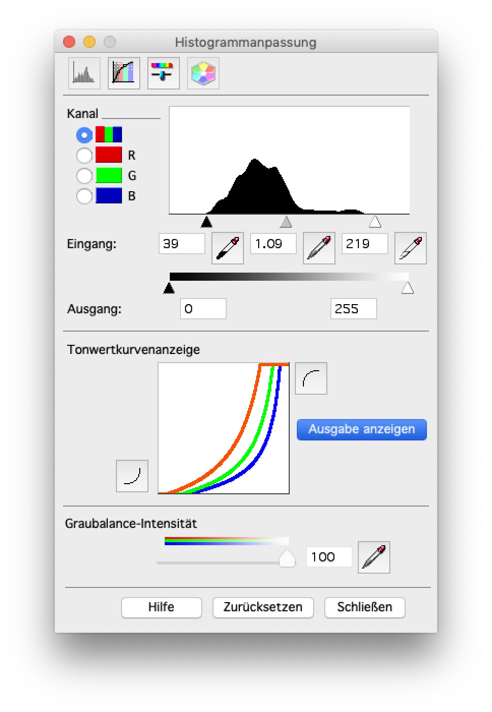 Output Histogram. Set your sliders while in normal mode, next click on Show Output to see what you will get.