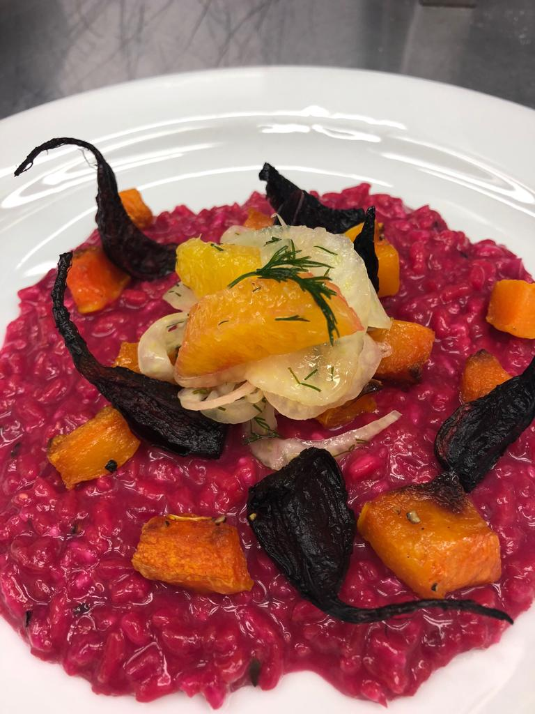 Roast beet risotto with fennel, orange and dill.