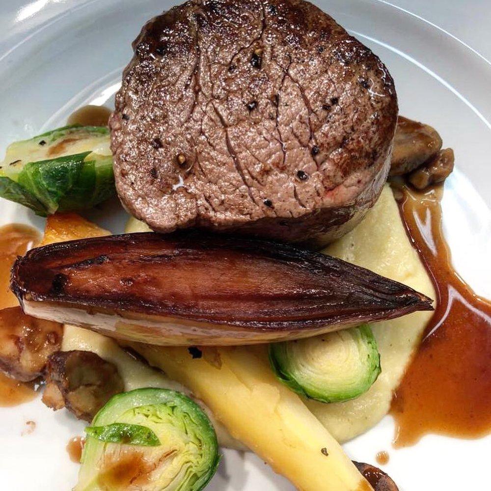 Fillet of beef with seasonal vegetables.
