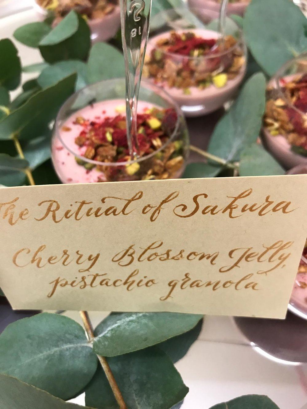 Cherry Blossom Jelly with Pistachio Granola