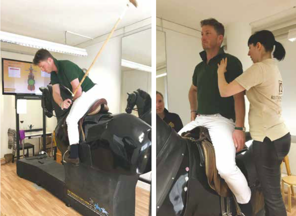 Use of the Racewood Horse can provide a full analysis of the seat position and swing technique, here shown at reitsimulator.ch with an equine sport therapist