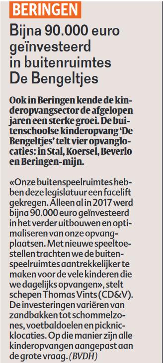 90.000 geïnvesteerd in buitenruimte De Bengeltjes (HLN - 05/01/2018)
