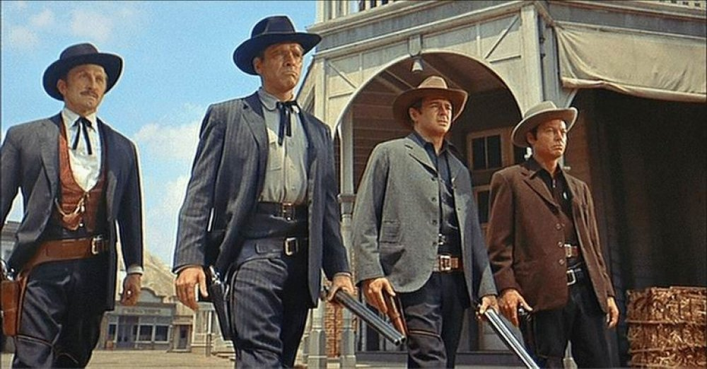 "Scene from the 1957 movie ""Gunfight at the OK Corral."""