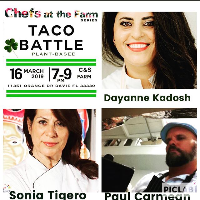 This Saturday ~ Taco Battle at the Farm in Davie.  3 Chefs - 3 Tacos with Beers, Henna, Essential Oils, Vintage Pops, Jewelry, yoga and nature. For tickets link in BIo or visit www.thefarmdavie.com  #davie#tacosmiami#tacobattlemiami#chefs#plantbased#chefsatthefarm @dkpersonalchef @doshaayurvediccafe @paulodell @jademaxx @lakshmicjewelry @eatvintagepops