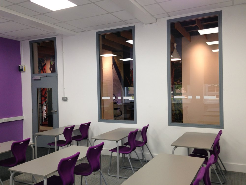 the tired teaching spaces were refreshed with colour, light and modernised into 21st century environments