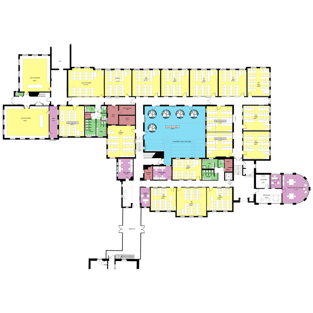 masterplan proposals (ground floor) for the refurbishment of the building