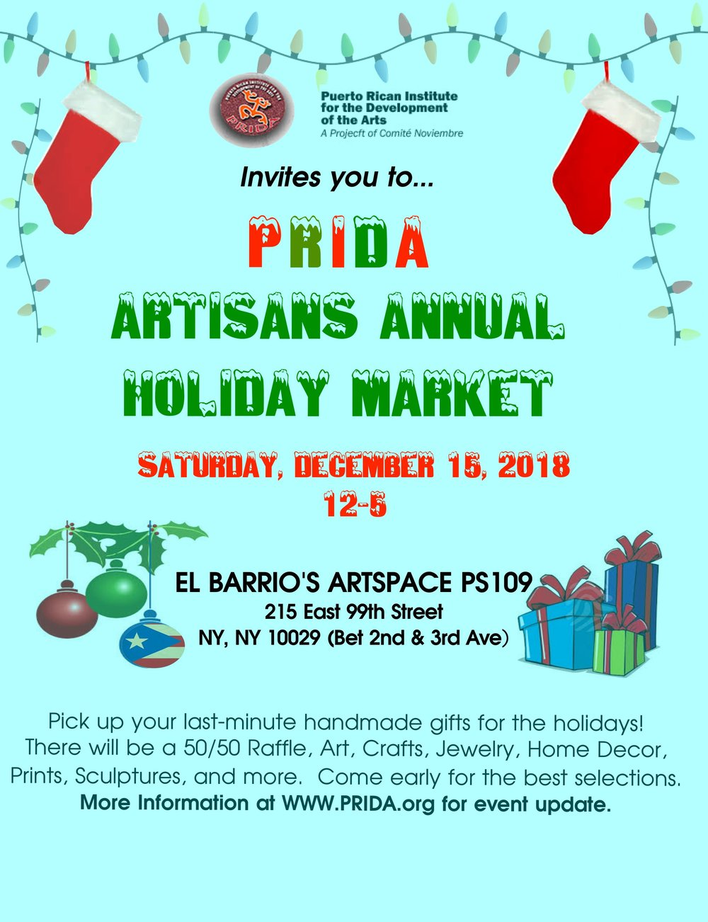 prida artisans annual holiday market