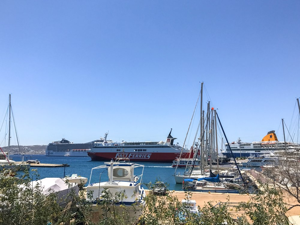 Ferries in Mykonos Port