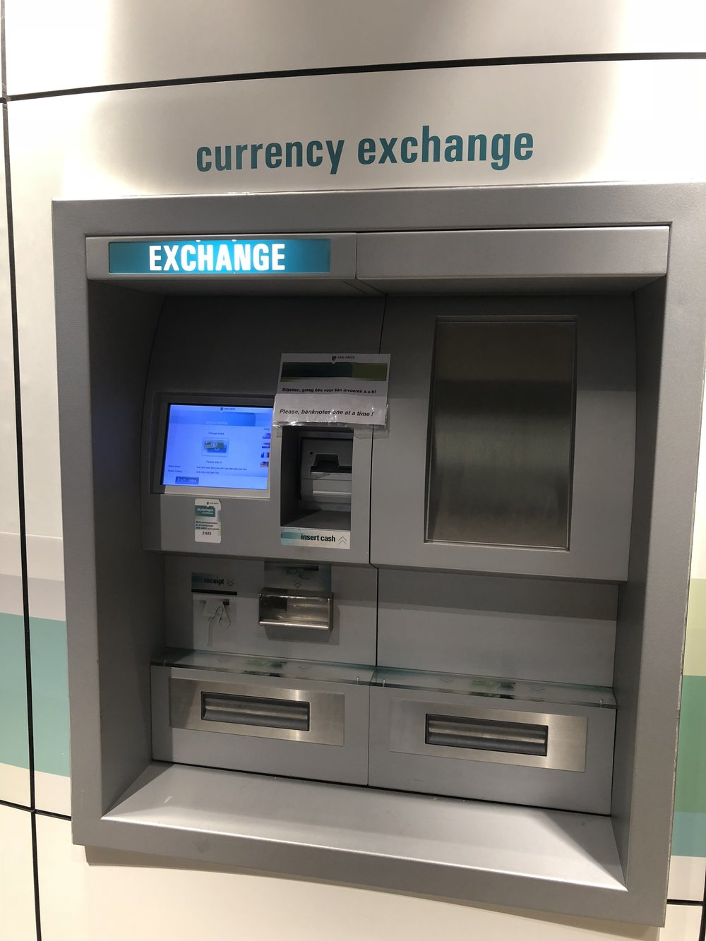 Need cash? - The onsite ABN AMRO bank has ATMs that handle a variety of functions. You can use your ATM/Credit card to withdraw Euros or US$ and one machine even allows you to exchange currency