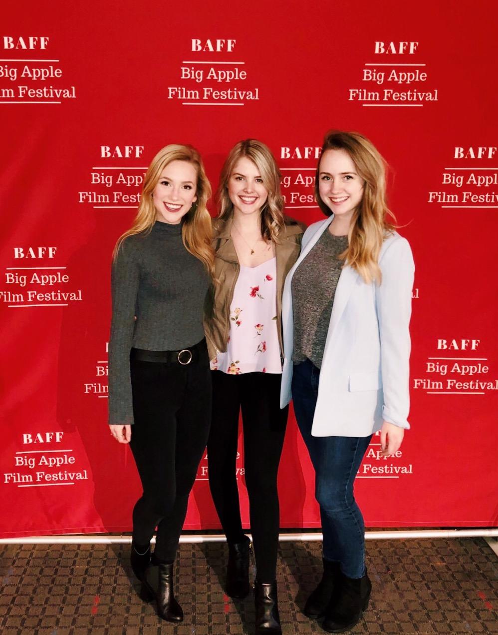 Actors Lauren DiMario, Haley Robinson, and Kaylee Barrett at the Big Apple Film Festival.
