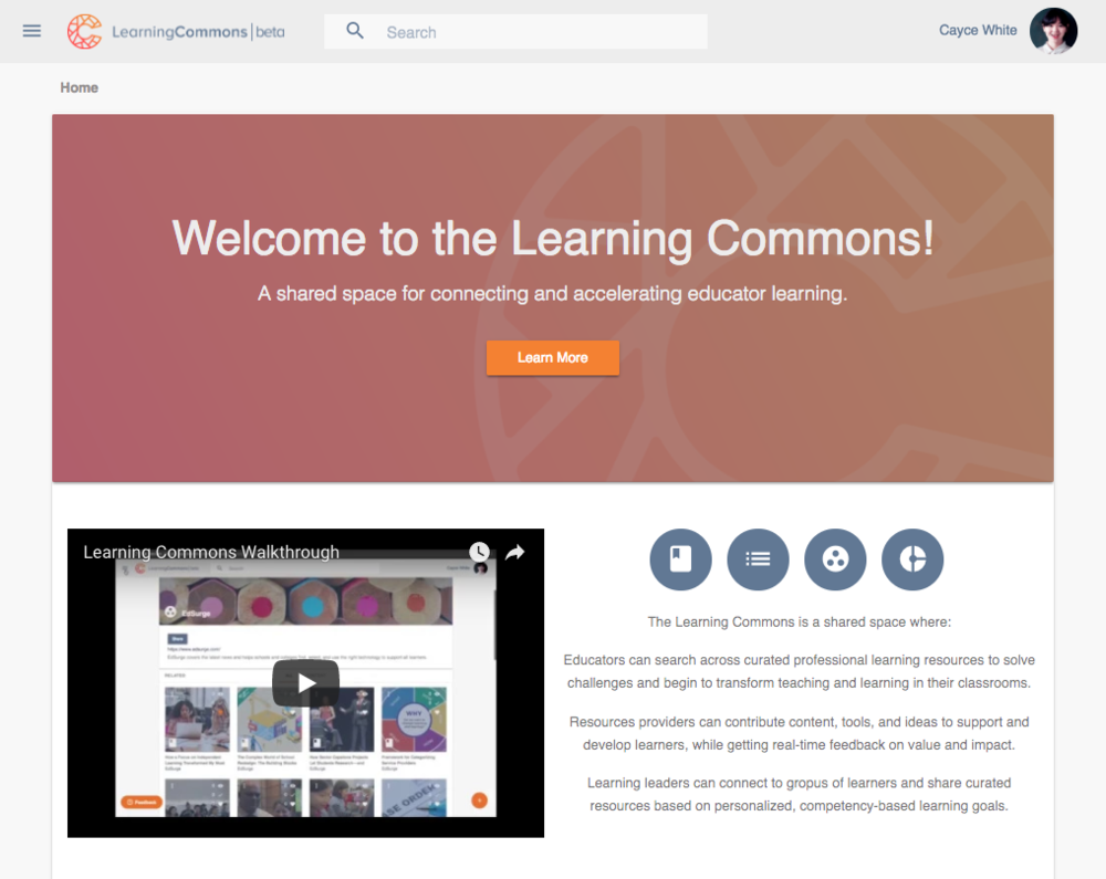 Learning Commons homepage