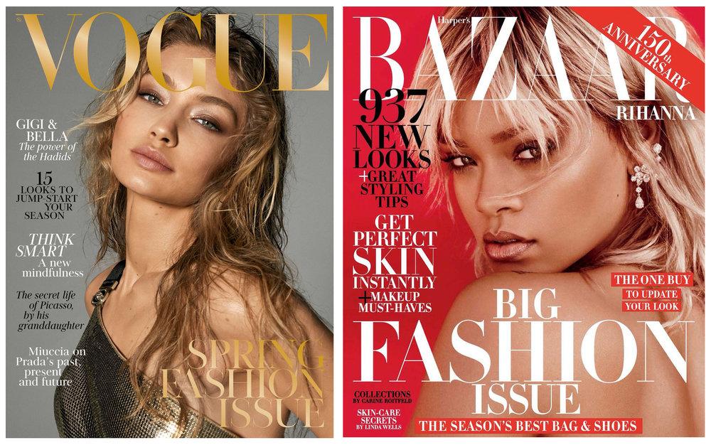 Vogue  and  Harper's Bazaar  front covers