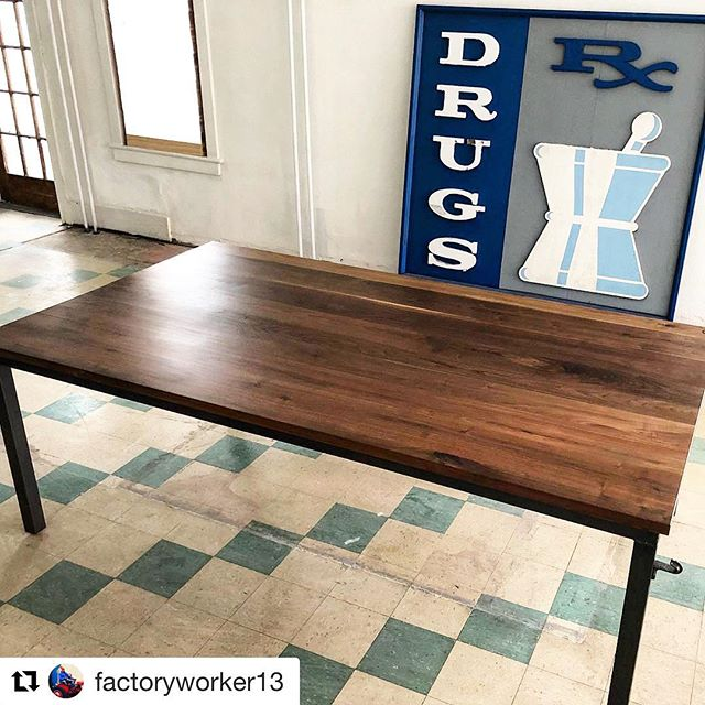 Community art table ❤️. #mkapothecary #artgallery #artstorehouse . . #Repost @factoryworker13 ・・・ Black Walnut Community Table with Custom Steel Legs we made for a new Art Studio opening up in an old pharmacy. #woodworking #metalworking #table #communitytable #walnut #steel #makersgonnamake #maker #tfw #thefactoryworkers #craftsmanship