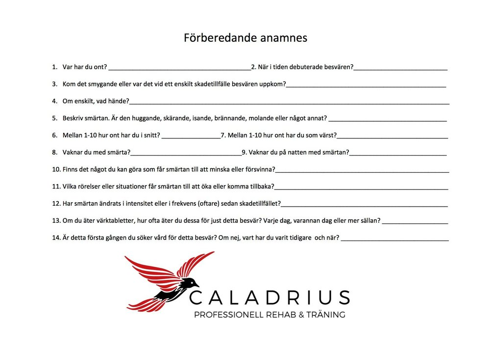 Caladrius professionell rehab och träning  anames