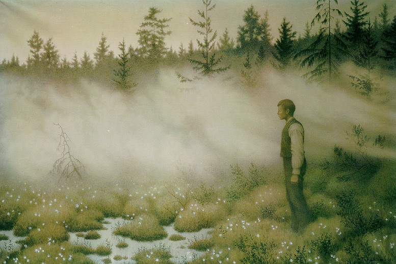 Huldra forsvant. Av Theodor Kittelsen Bild från Nordiska Muséet