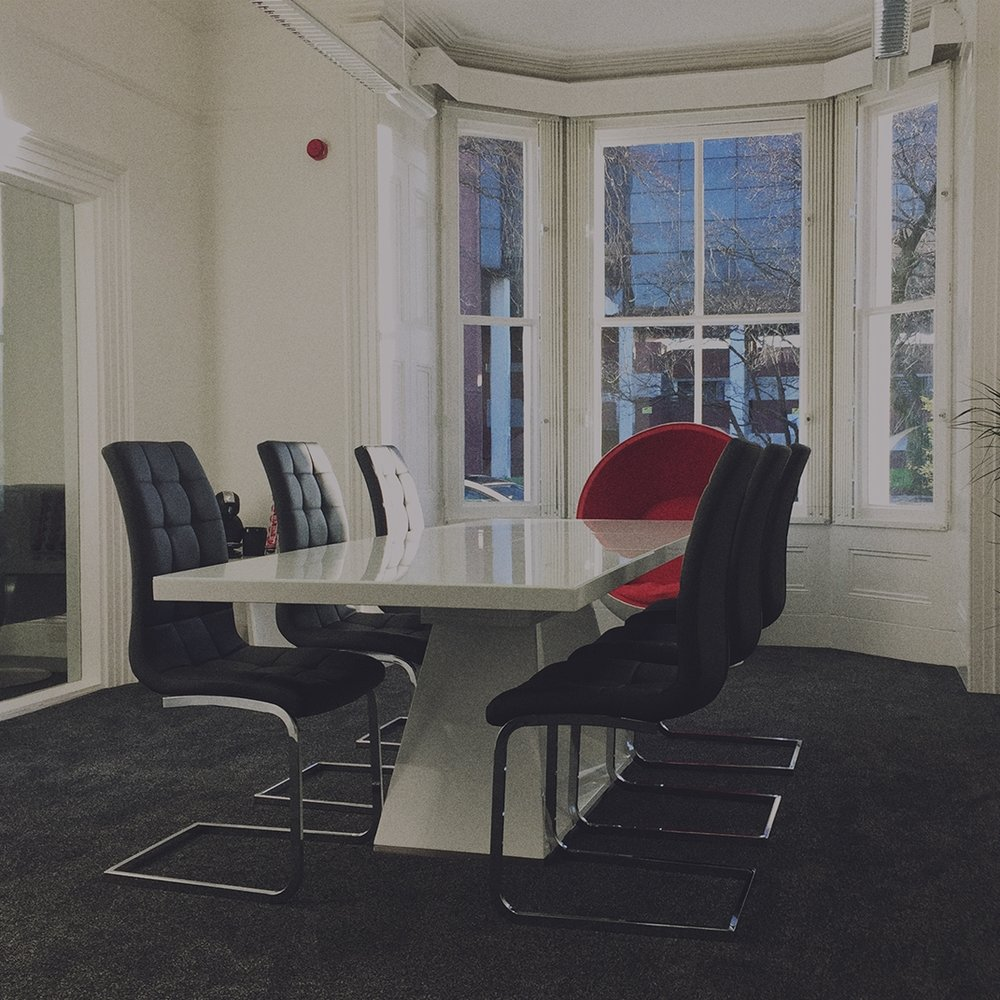 Meeting Space.   Our board room can accommodate up to 10 people. There is a further 6 man space for smaller formal meetings and a space with smart whiteboards and on tap refreshments for workshops and hack days.